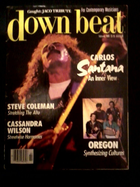 Jazz) VG+ op Downbeat Magazine Feb1988 Carlos Santana Jaco Pastorius