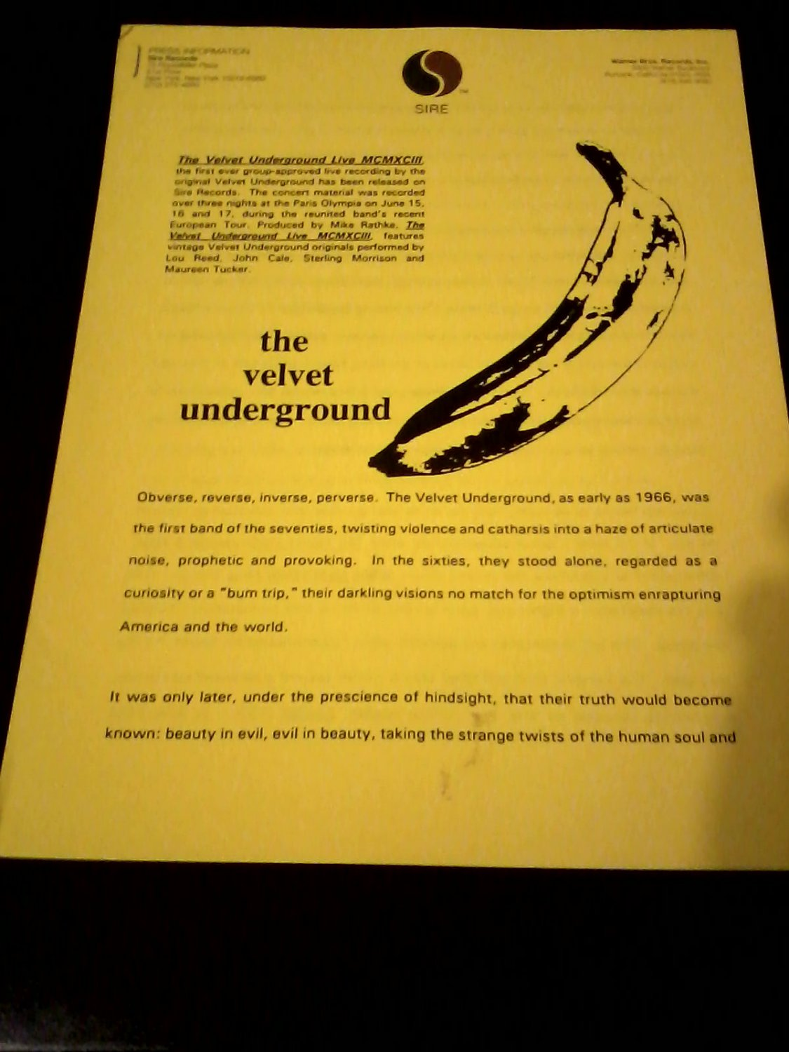 Lou Reed) Velvet Underground Live MCMX111 new op '94 Press Release