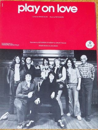 Airplane) Jefferson Starship Play On Love VG+ op '75 PS Sheet Music