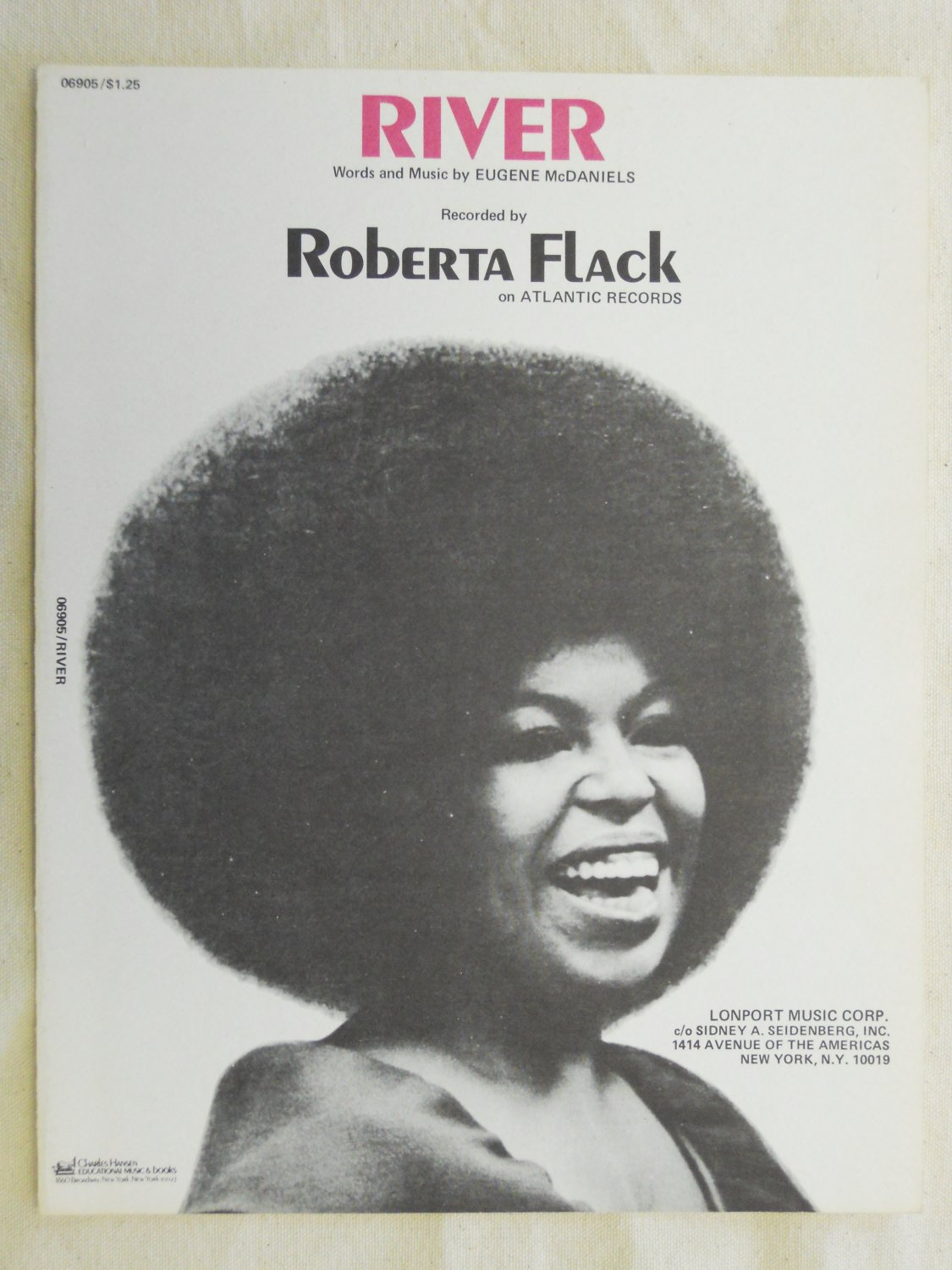 R&B) Roberta Flack River NEW '72 Sheet Music Folder