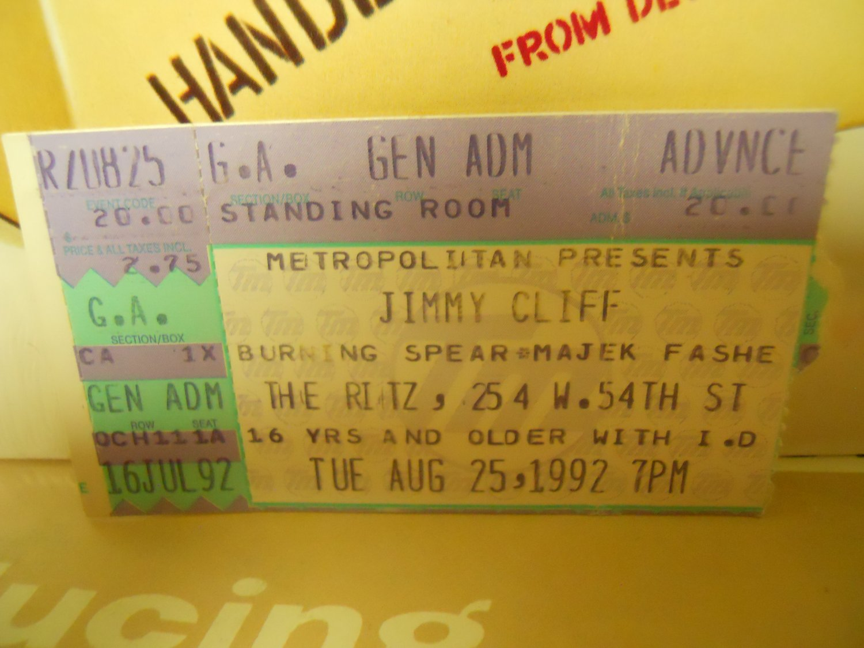 Reggae) Jimmy Cliff Burning Spear Used VG+ 1992 Ritz Ticket Stub