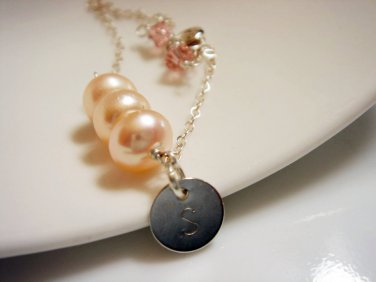 Monogram Pearl Sterling Silver Bridesmaid Bracelet - Initial Gift for Her