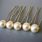 Gold Bridal Hair U Pin Swarovski Pearl - Gift Under 20 - Bridesmaid Present HG004