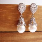 Art Deco Bridal Pearl Earrings - Vintage Style Wedding - E047
