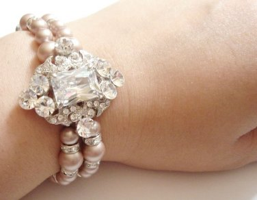 Great Gatsby Wedding Bridal Swarovski Pearl Cubic Zirconia Bracelet