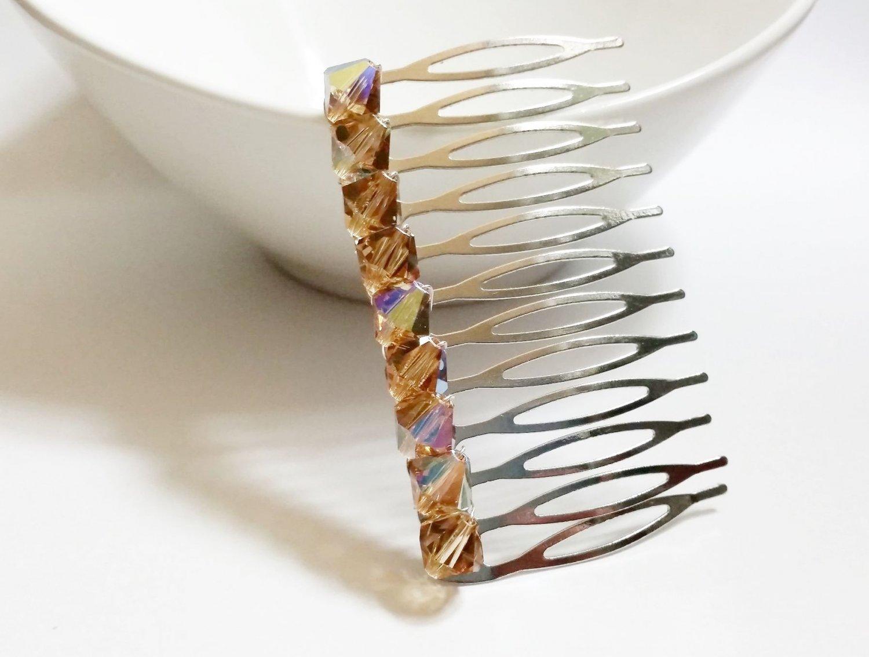 Gold Swarovski Bridal Hair Comb - Wedding Topaz Swarovski Crystal HS038