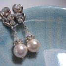 Swarovski Rose Bridal Pearl Earrings - Romantic Flower Wedding E032