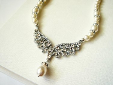 Angel Swarovski Necklace - Vintage Style Pearl Matching Necklace