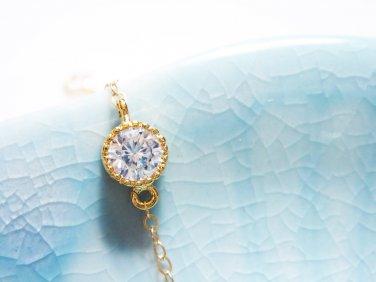 Hypoallergenic Gold Bracelet - Cubic Zirconia Thin Layering Bracelet