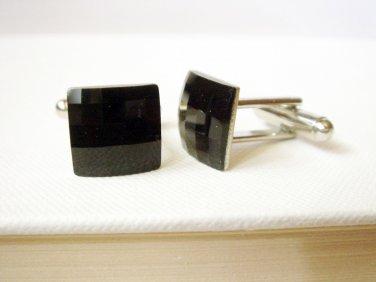 Black Swarovski Cufflink - Jet Crystal Checkboard Mens Gift