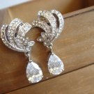 Vintage Swarovski Bridal Cubic Zirconia Earrings - Angel Scrolls Teardrop E036