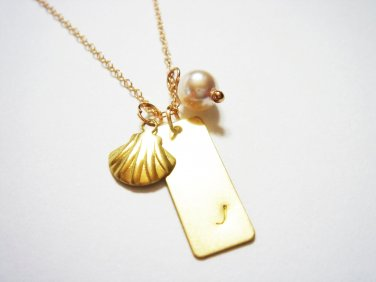 Gold Beach Wedding Sea Shell Necklace - 14k Gold Filled Monogram Swarovski Pearl