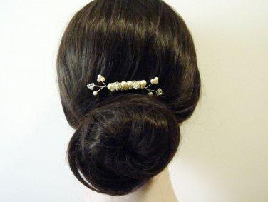 Handmade Cluster Pearl Hair Comb - Swarovski Crystal Wedding HS023