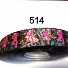 "5 yd - 7/8"" Hot Pink Browning Deer Head on Camo Grosgrain Ribbon"