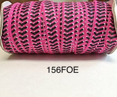 "5 yard - 5/8"" Hot Pink Baseball inspired Fold Over Elastic Headband"
