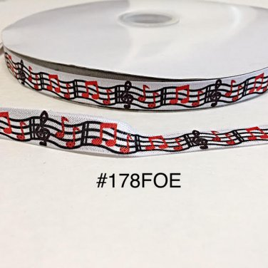 """5 yard - 5/8"""" Red and Black Musical Note Fold Over Elastic"""