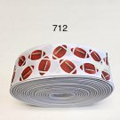 "5 yard - 1.5"" Football Sport on White Grosgrain Ribbon"