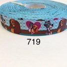 "5 yard - 7/8"" Lady and Tramp Dog on Blue Grosgrain Ribbon"