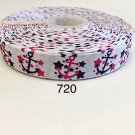 "5 yard - 7/8"" Royal Blue and Hot Pink Nautical Anchor and Star on White Grosgrain Ribbon"