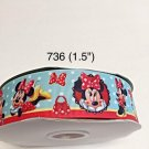 "5 yard - 1.5"" Minnie Mouse with Polka Dot Bow and Purse Grosgrain Ribbon"