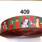 "5 yard - 1"" Christmas My Little Pony and Friends with Red and Green Stripe Grosgrain Ribbon"
