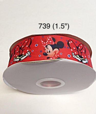 "5 yard - 1.5"" Minnie Mouse Peek A Boo with Blue Polka Dot on Red Grosgrain Ribbon"