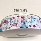 "5 yard - 1.5"" Frozen Princess Elsa with Flower and Snowflake Motif on White Grosgrain Ribbon"