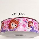 "5 yard - 1.5"" Princess Sofia and Bird on Pink Grosgrain Ribbon"