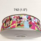 """5 yard - 1.5"""" Minnie Mouse Striped, Polka Dot and Heart Motif on White Grosgrain Ribbon"""