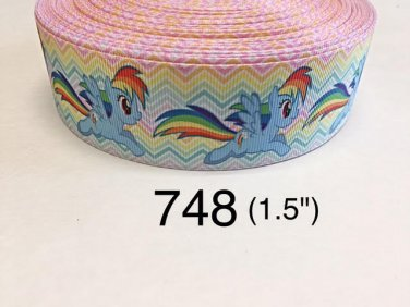 "5 yard - 1.5"" My Little Pony Rainbow Dash on Rainbow Chevron Grosgrain Ribbon"