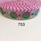 "5 yard - 1"" Girl Ninja Turtle wearing Pink Bow with Polka Dot and Striped Motif Grosgrain Ribbon"
