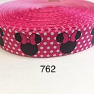 """5 yard - 1"""" Minnie Mouse with White Polka Dot on Hot Pink Grosgrain Ribbon"""