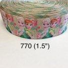 "5 yard - 1.5"" Frozen Princess Elsa and Anna with Flower Motif Grosgrain Ribbon"
