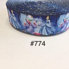 "5 yard - 1.5"" Princess Cinderella w Fairy God Mother, Carriage and Castle on Blue Grosgrain Ribbon"