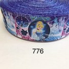 "5 yard - 1.5"" Princess Cinderella on Blue Grosgrain Ribbon"