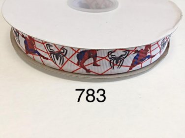 "5 yard - 7/8"" Spider Man and Spider inspired on White Grosgrain Ribbon"