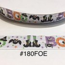 "5 yd - 1"" Halloween BOO, Bat, Witch Hat & Shoe, Spider Fold Over Elastic Headband Hair Accessories"