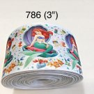 "5 yard - 3"" Princess Ariel sitting on Sea Shell with Fish on White Grosgrain Ribbon"