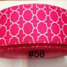 "5 yard - 1.5"" Hot Pink White Quatrefoil Grosgrain Ribbon"