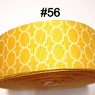 "5 yard - 1.5"" Yellow White Quatrefoil Grosgrain Ribbon"