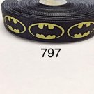 "5 yard -  7/8"" Yellow Batman on Black Grosgrain Ribbon Hair bow"