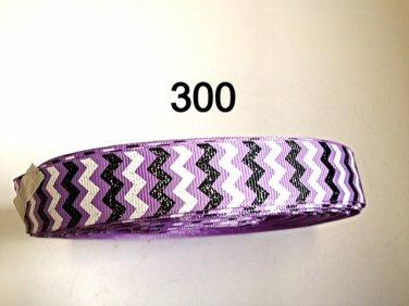 "5 yard - 7/8"" Glitter Black and White Chevron on Purple Grosgrain Ribbon"