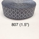 "5 yard - 1.5"" Gray White Quatrefoil Grosgrain Ribbon"