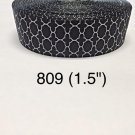 "5 yard - 1.5"" Black White Quatrefoil Grosgrain Ribbon"