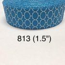 "5 yard - 1.5"" Light Blue White Quatrefoil Grosgrain Ribbon"