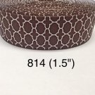 "5 yard - 1.5"" Brown White Quatrefoil Grosgrain Ribbon"