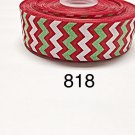 "5 yard - 1.5"" Glitter Red and White Chevron on Red Grosgrain Ribbon"