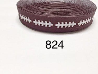 "5 yard - 7/8"" Sport Football on Brown Grosgrain Ribbon"