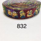 "5 yard - 1"" Minions and Friends multi color Grosgrain Ribbon"