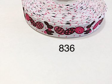 """5 yard - 7/8"""" Easter Bunny and Egg with Pink Polka Dot Motif on White Grosgrain Ribbon"""